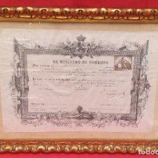 Antigüedades: MARCO CON TÍTULO DE LICENCIATURA 1880. Lote 260093265