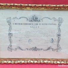 Antigüedades: MARCO CON TÍTULO DE BACHILLER 1871. Lote 260094055