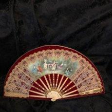 Antiquités: ABANICO DE HUESO PINTADO EN SEDA CON ENCAJES FIRMADO JG. Lote 260169965