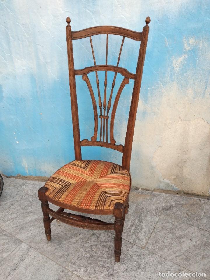 Antigüedades: Antigua silla de madera de roble con asiento de nea en colores. - Foto 3 - 260303865