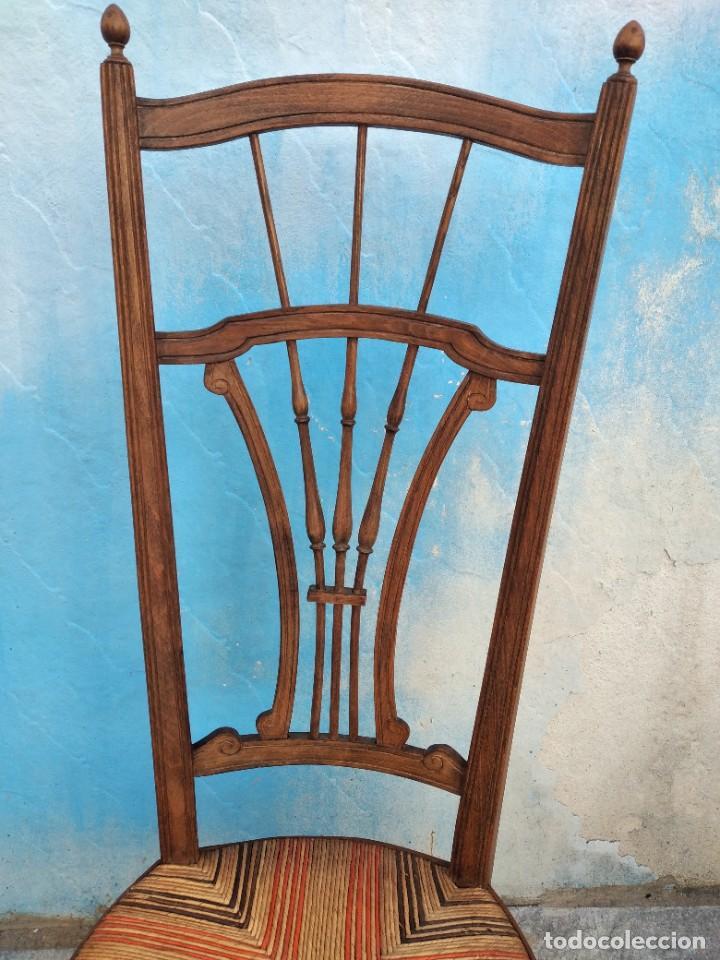 Antigüedades: Antigua silla de madera de roble con asiento de nea en colores. - Foto 6 - 260303865