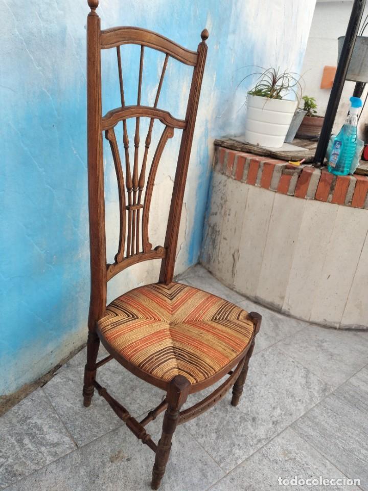 Antigüedades: Antigua silla de madera de roble con asiento de nea en colores. - Foto 7 - 260303865