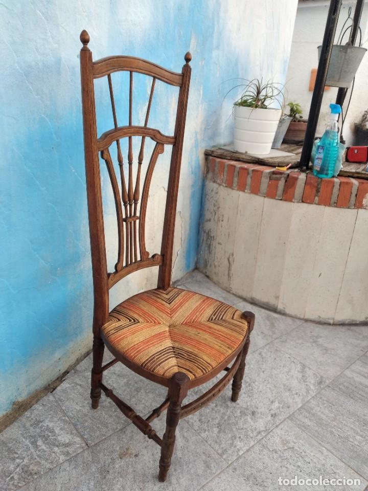 Antigüedades: Antigua silla de madera de roble con asiento de nea en colores. - Foto 8 - 260303865