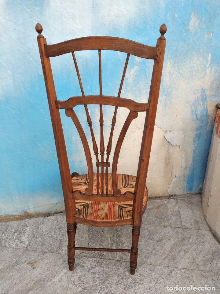 Antigüedades: Antigua silla de madera de roble con asiento de nea en colores. - Foto 9 - 260303865