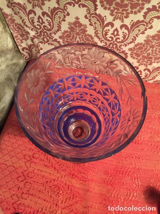 Antigüedades: Antigua florero / jarrón de cristal soplado y tallado a mano de estilo Art Deco años 40-50 - Foto 2 - 260359045