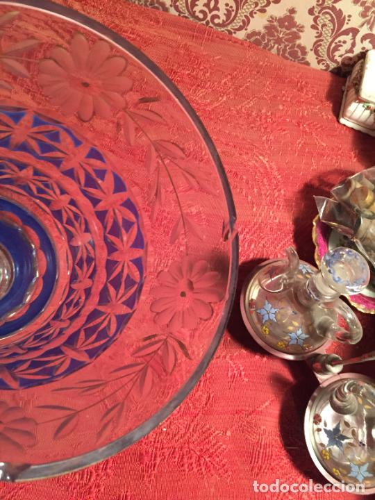 Antigüedades: Antigua florero / jarrón de cristal soplado y tallado a mano de estilo Art Deco años 40-50 - Foto 3 - 260359045
