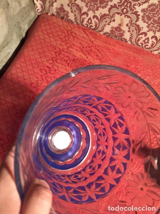 Antigüedades: Antigua florero / jarrón de cristal soplado y tallado a mano de estilo Art Deco años 40-50 - Foto 4 - 260359045