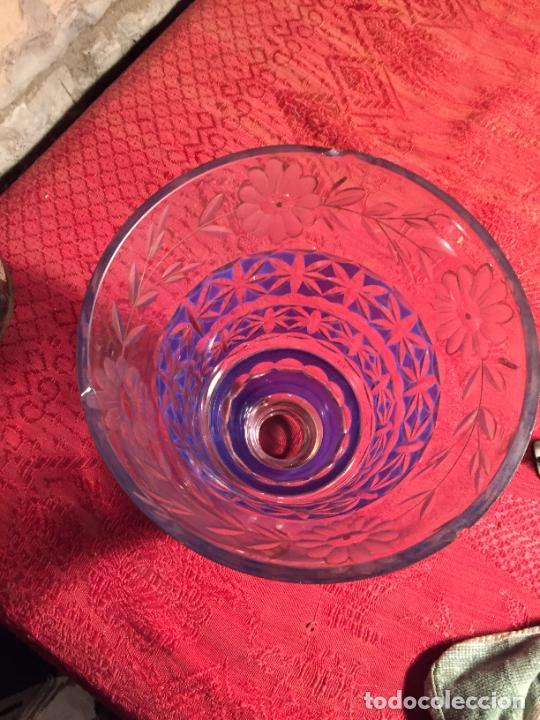 Antigüedades: Antigua florero / jarrón de cristal soplado y tallado a mano de estilo Art Deco años 40-50 - Foto 7 - 260359045