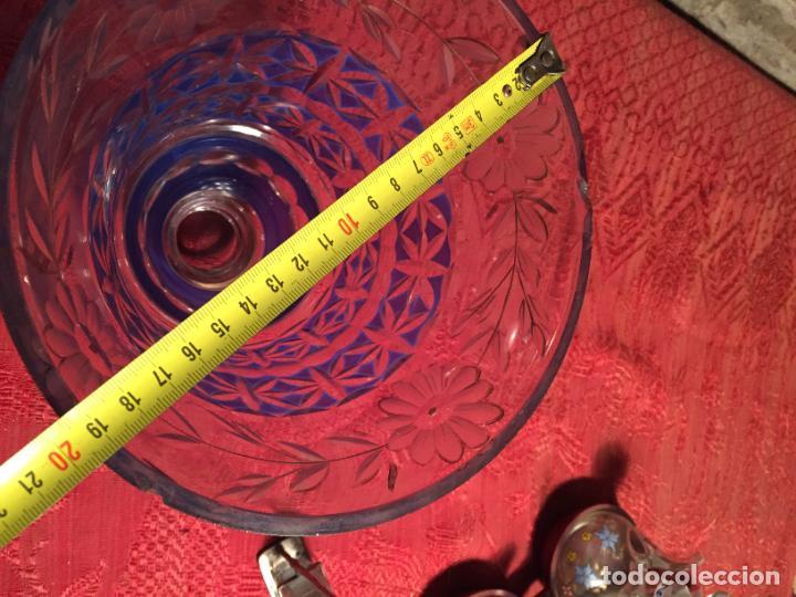 Antigüedades: Antigua florero / jarrón de cristal soplado y tallado a mano de estilo Art Deco años 40-50 - Foto 8 - 260359045