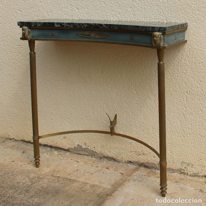 CONSOLA DE LOS AÑOS 40EN LATÓN Y MÁRMOL VERDE (Antigüedades - Muebles Antiguos - Consolas Antiguas)