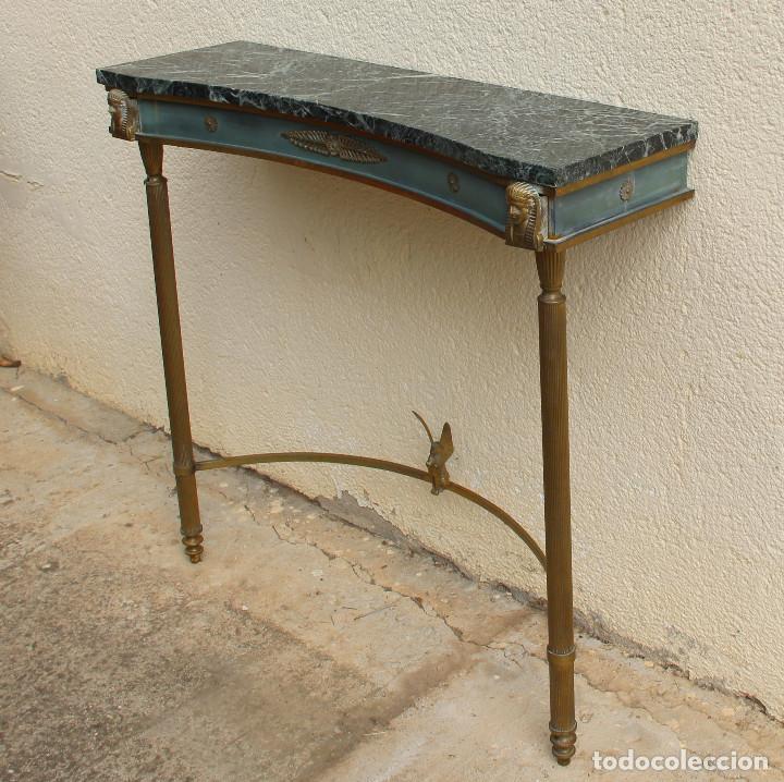 Antigüedades: Consola de los años 40en latón y mármol verde - Foto 2 - 260445390