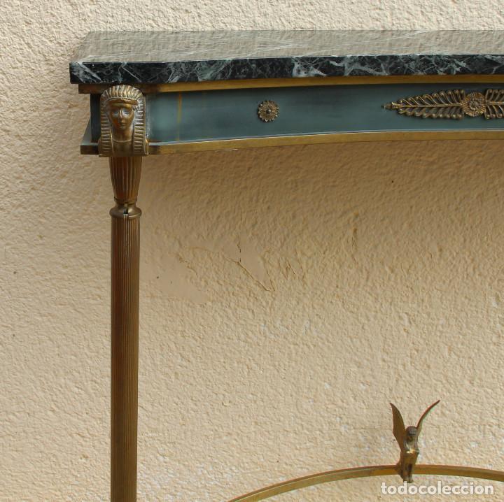 Antigüedades: Consola de los años 40en latón y mármol verde - Foto 3 - 260445390