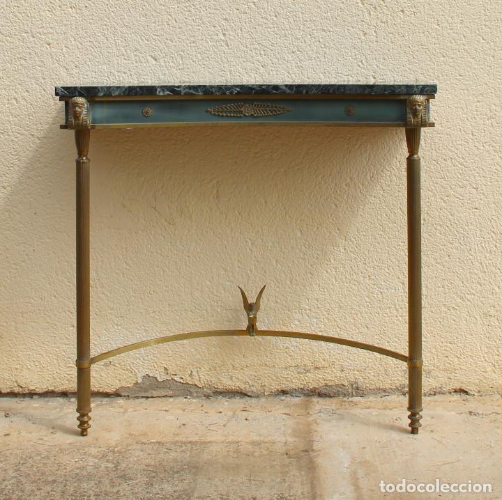 Antigüedades: Consola de los años 40en latón y mármol verde - Foto 9 - 260445390