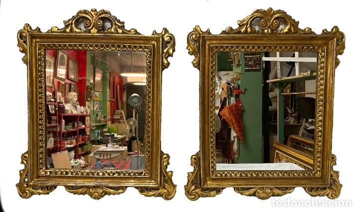 Antigüedades: Antigua pareja de espejos, cornucopias de madera al oro fino. Felipe V. 60x50 cm. S.XVIII - Foto 2 - 260536945