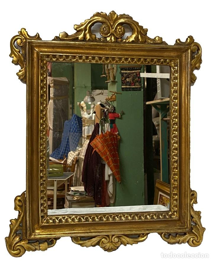 Antigüedades: Antigua pareja de espejos, cornucopias de madera al oro fino. Felipe V. 60x50 cm. S.XVIII - Foto 3 - 260536945
