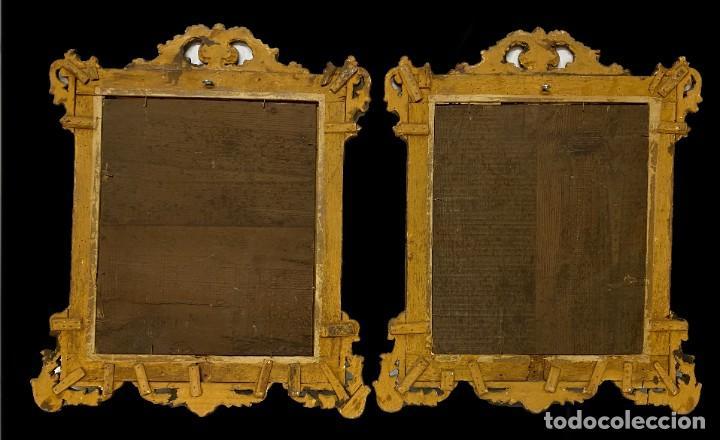 Antigüedades: Antigua pareja de espejos, cornucopias de madera al oro fino. Felipe V. 60x50 cm. S.XVIII - Foto 4 - 260536945
