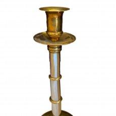Antigüedades: ENORMA CANDELABRO-CANDELERO DE BRONCEPLATEADO Y DORADO, BECARA.ELEGANTE. Lote 260634360