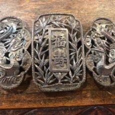 Antigüedades: ANTIGUA ESPECTACULAR HEBILLA PARA CINTURON EN PLATA CONTRASTADA ORIENTAL CHINO - MEDIDA 13X6,5 CM. Lote 260715065
