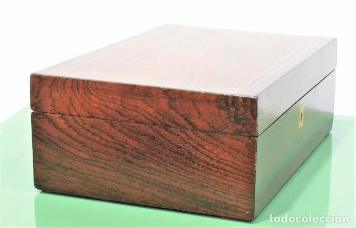 Antigüedades: Caja antigua Napoleón III de madera con marquetería. - Foto 2 - 261108925