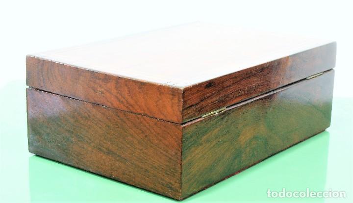 Antigüedades: Caja antigua Napoleón III de madera con marquetería. - Foto 4 - 261108925