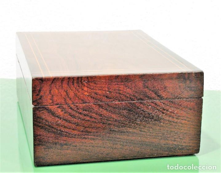 Antigüedades: Caja antigua Napoleón III de madera con marquetería. - Foto 5 - 261108925
