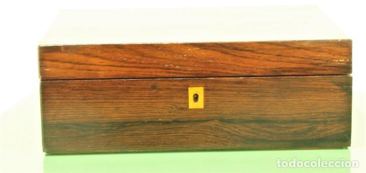 Antigüedades: Caja antigua Napoleón III de madera con marquetería. - Foto 6 - 261108925