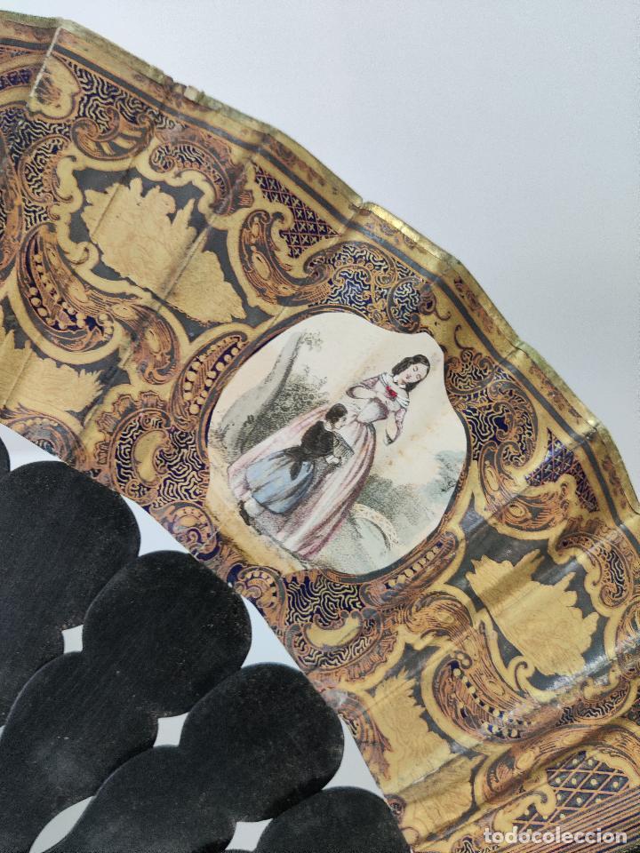 Antigüedades: Antiguo Abanico indiscreto isabelino en ebano con espejo y piedra Luna - Foto 10 - 261130225