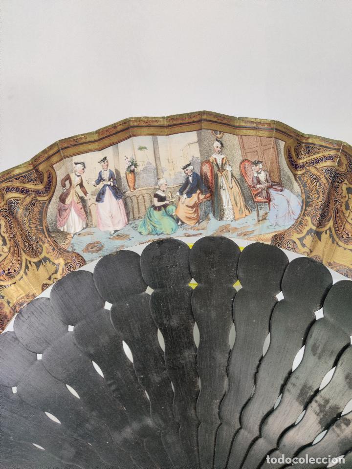 Antigüedades: Antiguo Abanico indiscreto isabelino en ebano con espejo y piedra Luna - Foto 11 - 261130225