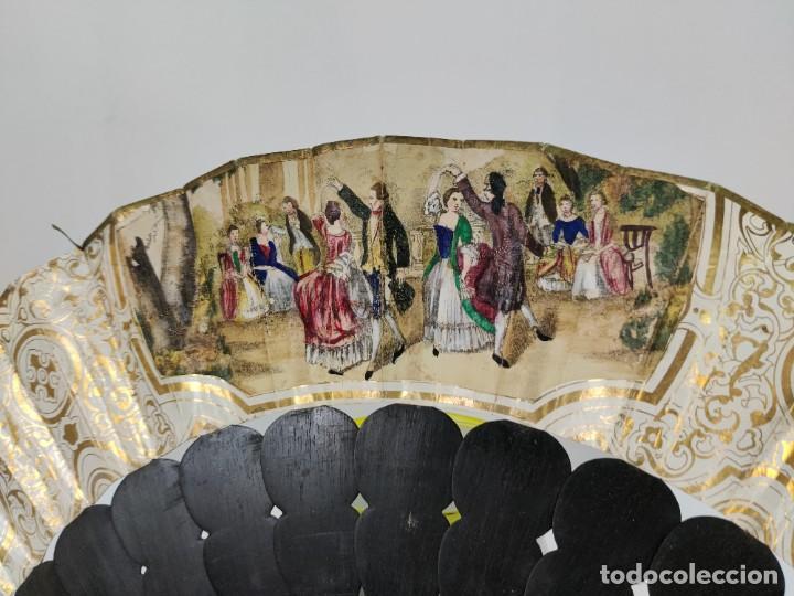 Antigüedades: Antiguo Abanico indiscreto isabelino en ebano con espejo y piedra Luna - Foto 14 - 261130225