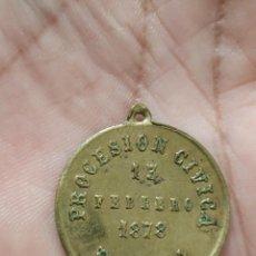 Antiguidades: ANTIGUA MEDALLA RELIGIOSA PROCESION CIVICA HABANA 13 FEBRERO 1878 - VALENCIA ALBACETE MURCIA ALICANT. Lote 261134010