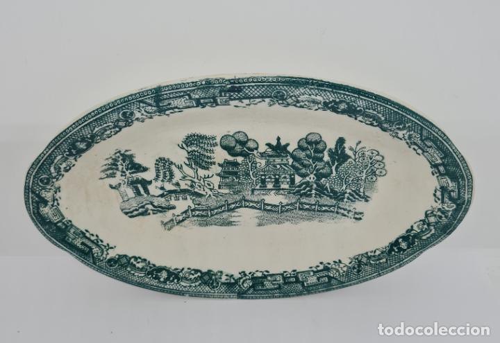 Antigüedades: MAGNIFICA BANDEJA EN VERDE DE SAN JUAN DE AZNALFARACHE,(SEVILLA),S. XIX - Foto 2 - 261152080