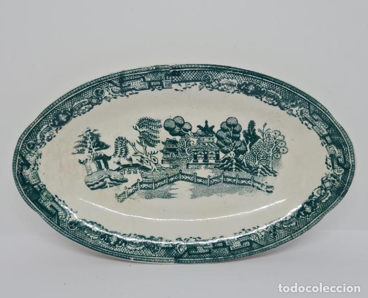 Antigüedades: MAGNIFICA BANDEJA EN VERDE DE SAN JUAN DE AZNALFARACHE,(SEVILLA),S. XIX - Foto 3 - 261152080
