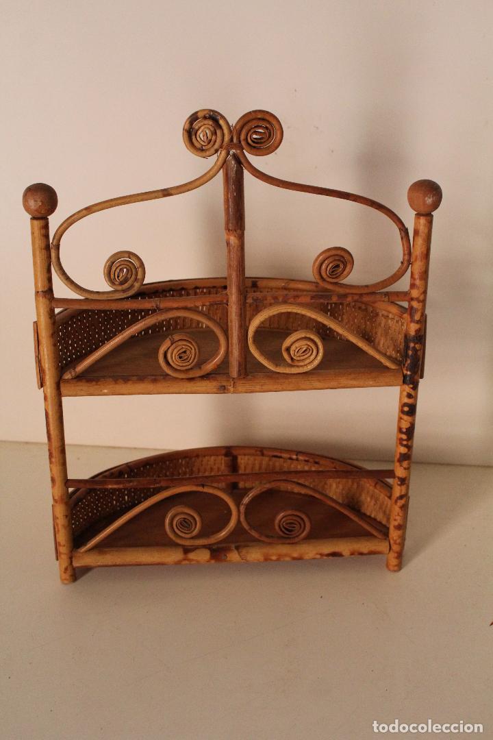 Antigüedades: estante de pared, repisa de mimbre - Foto 3 - 261154225