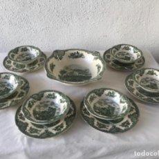 Antigüedades: ENSALADERA Y 6 BOLS Y SUS PLATOS PORCELANA JOHNSON BROS ENGLAND SERIE CASTLES.. Lote 261176400