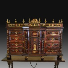 Antigüedades: BARGUEÑO. CAREY, BRONCE, MADERA, HIERRO. ITALIA, SIGLO XVII; MESA POSTERIOR.. Lote 261201480