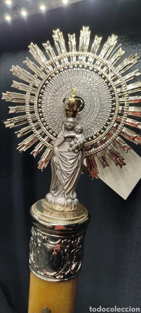 Antigüedades: Preciosa Virgen del Pilar de plata y base de Onix. De gran formato 45 centímetros de altura total. - Foto 2 - 261202800