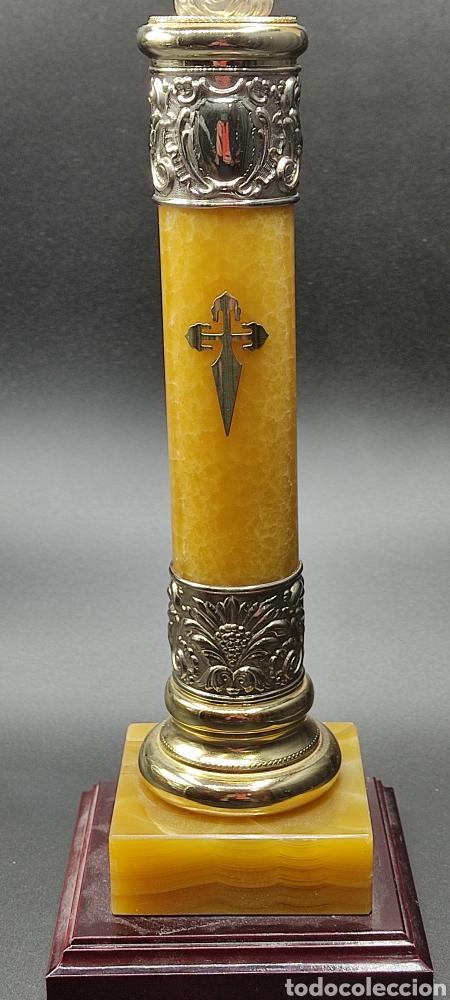 Antigüedades: Preciosa Virgen del Pilar de plata y base de Onix. De gran formato 45 centímetros de altura total. - Foto 3 - 261202800
