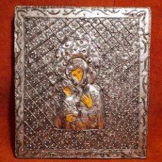 Antigüedades: EXCEPCIONAL ICONO BIZANTINO, RUSO, GRIEGO EN PLATA ÉTNICA REPUJADA.. Lote 261570045