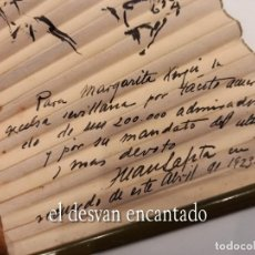 Antiquités: ABANICO CON DIBUJOS A TINTA DE JUAN LAFITA DEDICADO A MARGARITA XIRGU. SEVILLA SEMANA SANTA 1923. Lote 261583300