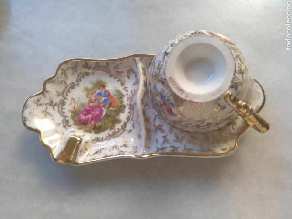 Antigüedades: Cenicero y taza de Porcelana de Limoges - Foto 2 - 261661170