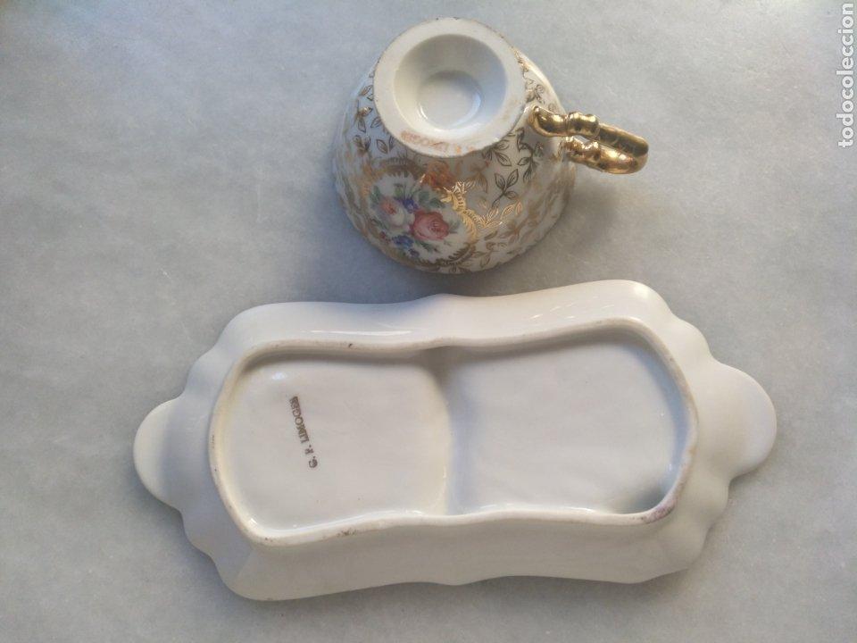 Antigüedades: Cenicero y taza de Porcelana de Limoges - Foto 3 - 261661170