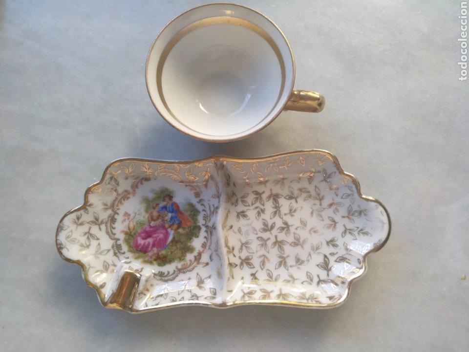 Antigüedades: Cenicero y taza de Porcelana de Limoges - Foto 4 - 261661170