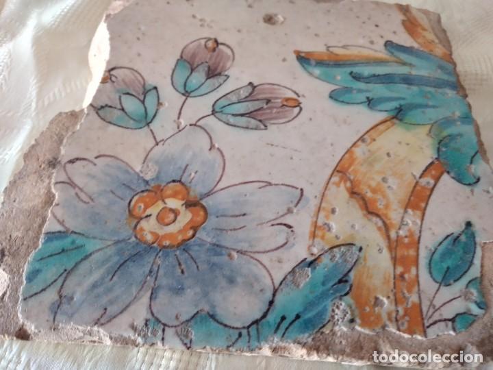 Antigüedades: AZULEJO ANTIGUO flores - SEVILLA / TRIANA . SIGLO XVIII. - Foto 4 - 261664085