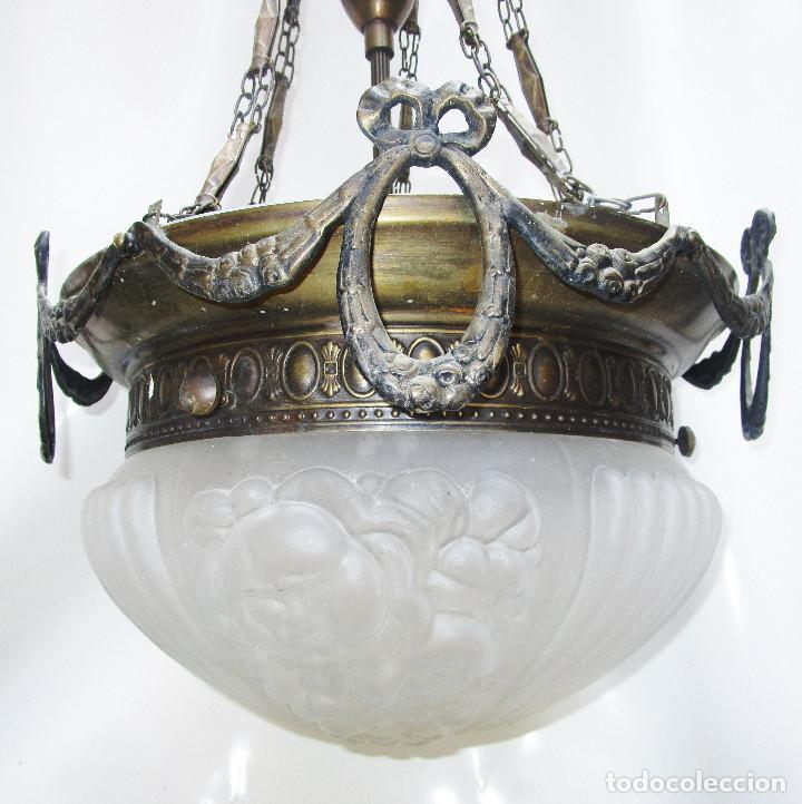 GRAN LAMPARA SALON EN LATON Y CRISTAL AL ACIDO ESTILO MODERNISTA (Antigüedades - Iluminación - Lámparas Antiguas)