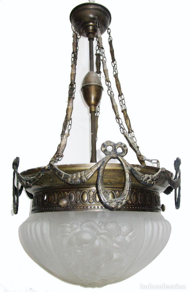 Antigüedades: Gran lampara salon en laton y cristal al acido estilo modernista - Foto 4 - 261670350