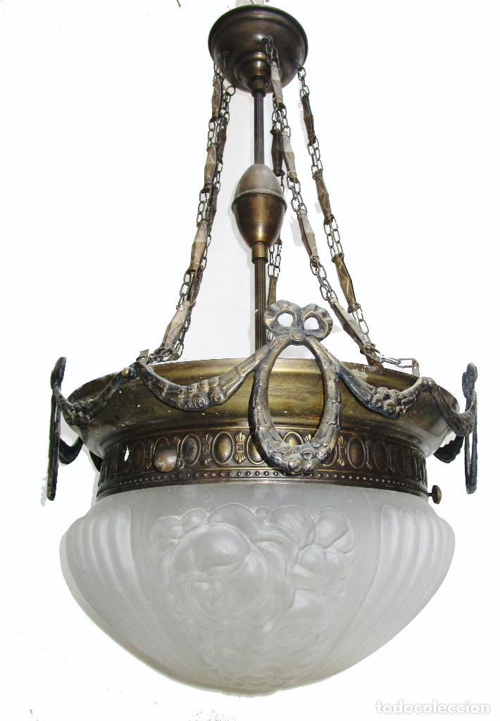 Antigüedades: Gran lampara salon en laton y cristal al acido estilo modernista - Foto 5 - 261670350