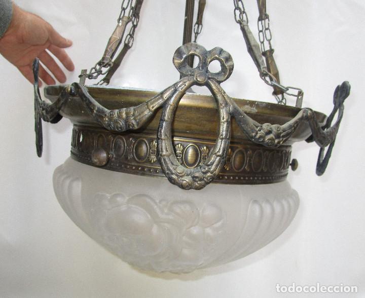 Antigüedades: Gran lampara salon en laton y cristal al acido estilo modernista - Foto 6 - 261670350