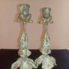 Antigüedades: ANTIGUOS PORTAVELAS DE METAL - 24 X 12 CMS. Lote 261700005