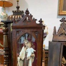 Antigüedades: VIRGEN DEL CARMEN EN CAPILLA DE MADERA. Lote 261702025