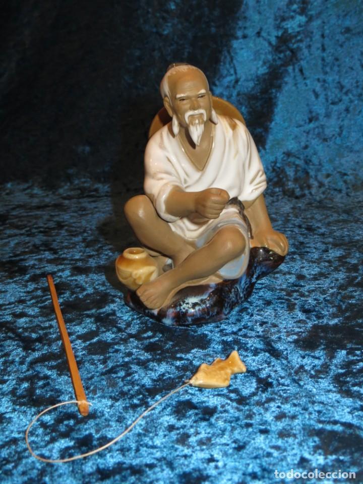 Antigüedades: Figura pescador cerámica vintage Shiwan China circa 1960-1970 - Foto 9 - 261774705